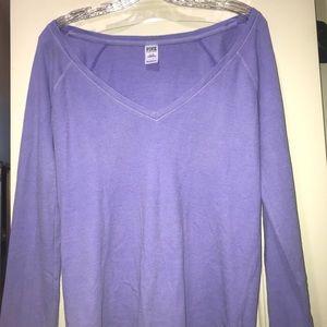 Long Sleeve Fleece V Neck Shirt